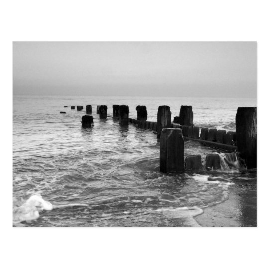"""Black and white photography – """"Seaside breakers"""" Postcard"""