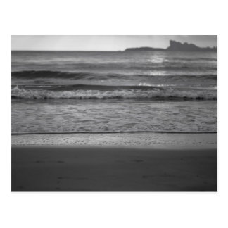 Black and white photography with seaside landscape postcard