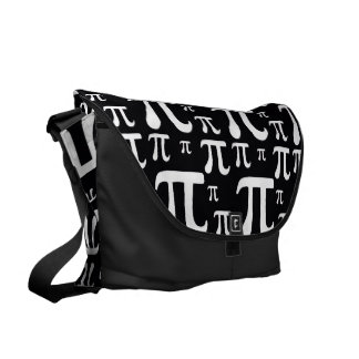 Black and White Pi Pattern Courier Bag