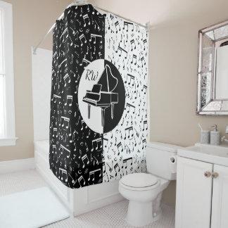 Black and white Piano design Shower Curtain