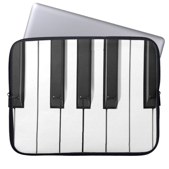 Black and White Piano Keyboard Laptop Case