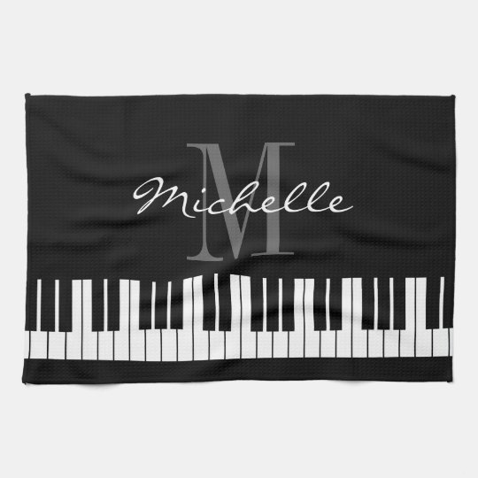 Black and white piano keys monogram kitchen towel