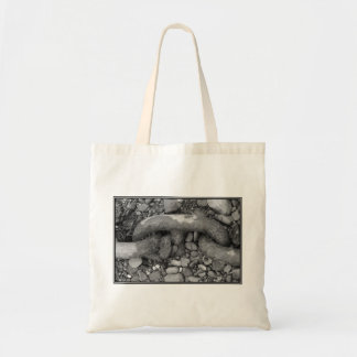 Black and white picture of chain. bags