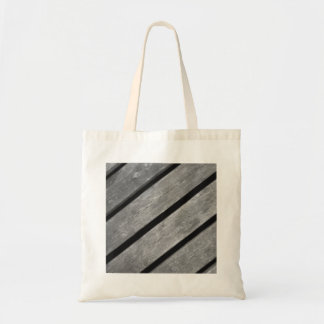 Black and White Picture of Wood Planks Canvas Bag