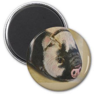 Black and White Pig 6 Cm Round Magnet