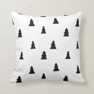 Black and White Pine Trees Pillow