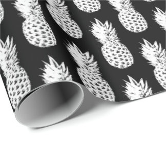 Black and white pineapple pattern wrapping paper