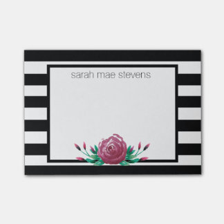 Black and White Pink Floral Post It Striped Post-it Notes