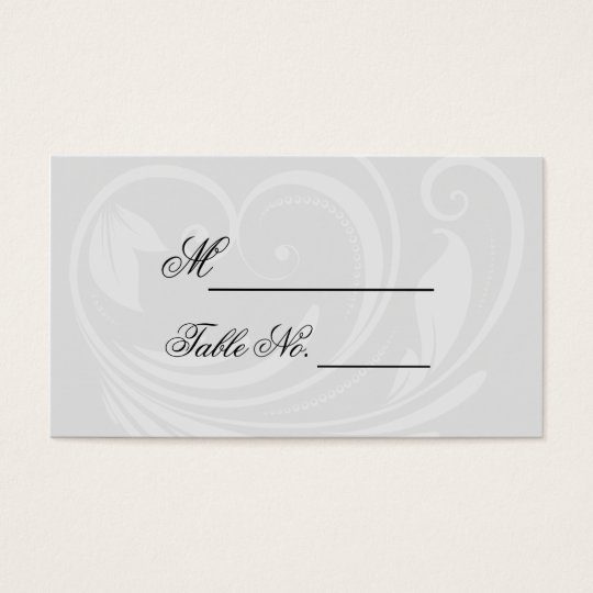 Black and White Pinstripe Heart Wedding Place Card