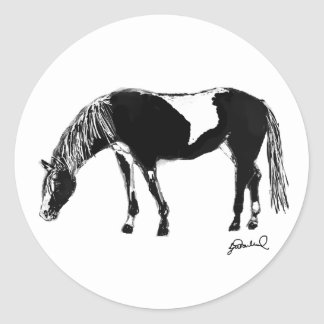 Black and white pinto horse round stickers
