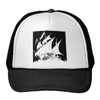 Black and White Pirate Ship Cap