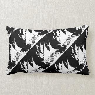 Black and White Pirate Ship Lumbar Cushion