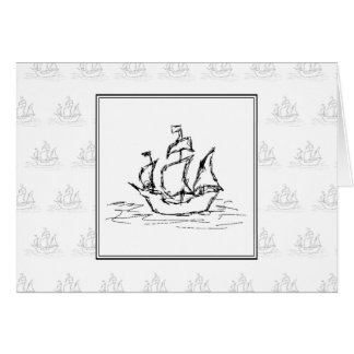 Black and White Pirate Ship. On ship pattern. Card