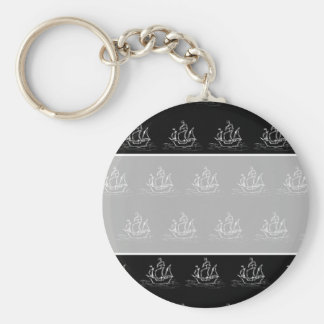 Black and White Pirate Ship Pattern. Key Ring