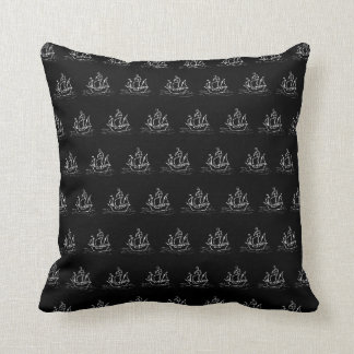 Black and White Pirate Ship Pattern. Throw Pillow