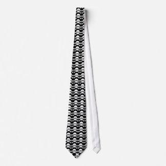 black and white pirate skull tie