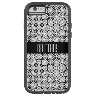 Black and White Pixel Art Lace Style Pattern Tough Xtreme iPhone 6 Case