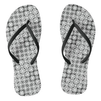 Black and White Pixel Lace Pattern Flip Flops