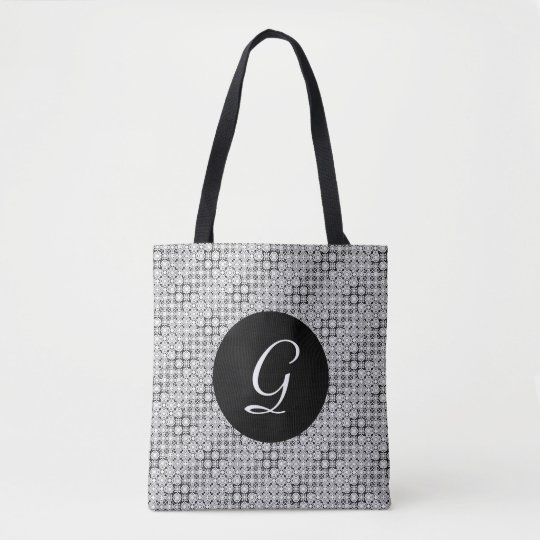 Black and White Pixel Lace Pattern Tote Bag