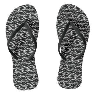 Black and White Pixel Zig Zag Pattern Flip Flops