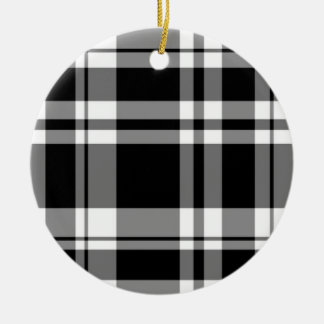 Black and White Plaid Christmas Ornament