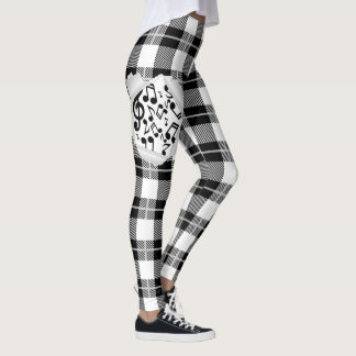 Black and White Plaid Music Notes Leggings
