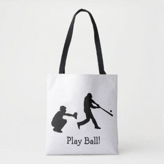 Black and White Play Ball Baseball Sports Tote Bag