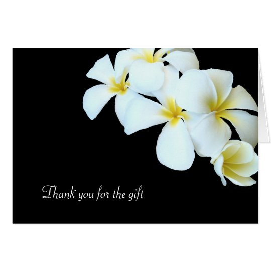 Black and White Plumeria Flowers Thank You Card