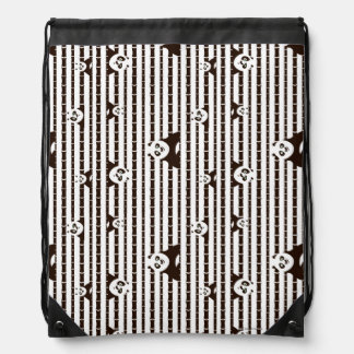 Black and White Po Pattern Drawstring Bag