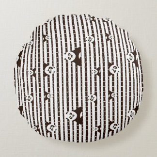 Black and White Po Pattern Round Cushion