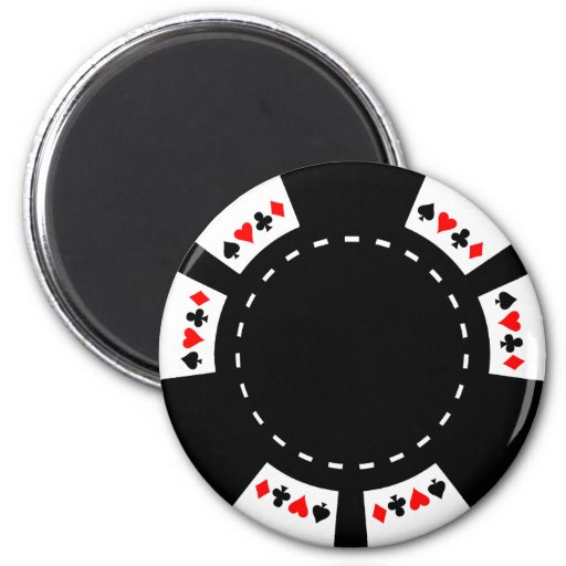Black and White Poker Chip Refrigerator Magnets
