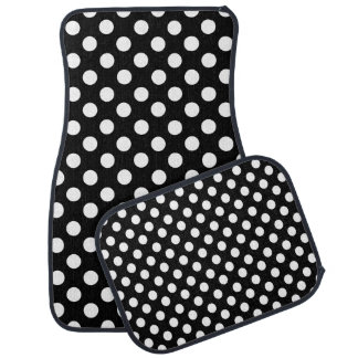 Black and White Polka Dot Car Mat Set