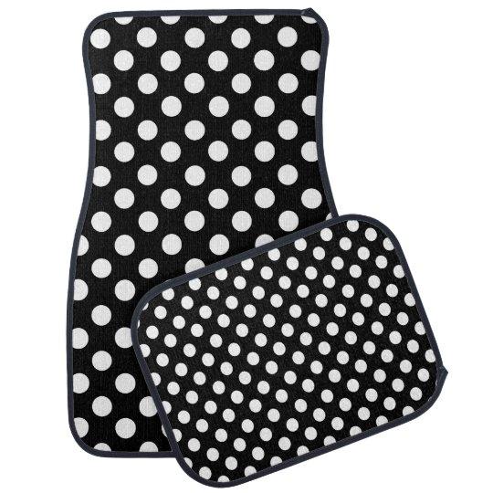 Black and White Polka Dot Car Mat Set