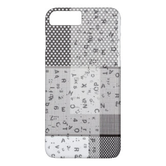 Black and White Polka Dot Checker Typography iPhone 7 Plus Case