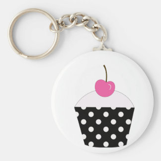 Black and White Polka Dot Cupcake With Pink Cherry Basic Round Button Key Ring