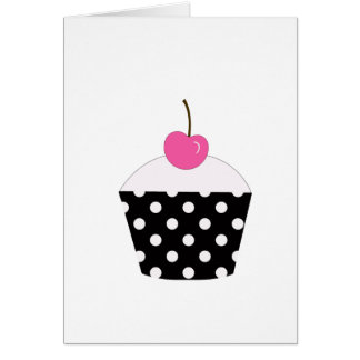 Black and White Polka Dot Cupcake With Pink Cherry Greeting Card