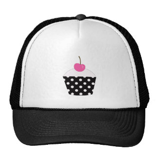 Black and White Polka Dot Cupcake With Pink Cherry Mesh Hat
