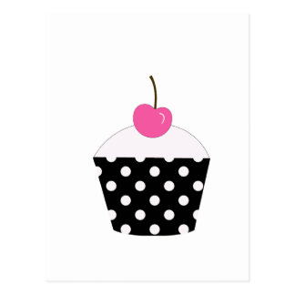 Black and White Polka Dot Cupcake With Pink Cherry Postcard