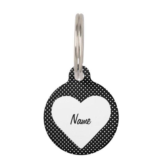 Black and White Polka Dot Heart Frame Pet