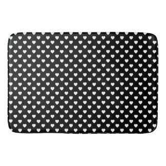 Black And White Polka Dot Hearts Pattern Bath Mat