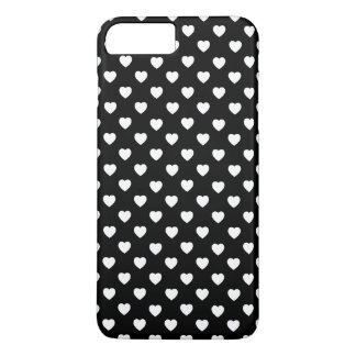 Black And White Polka Dot Hearts Pattern iPhone 7 Plus Case