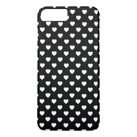Black And White Polka Dot Hearts Pattern iPhone
