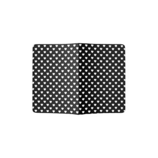 Black And White Polka Dot Hearts Pattern Passport Holder
