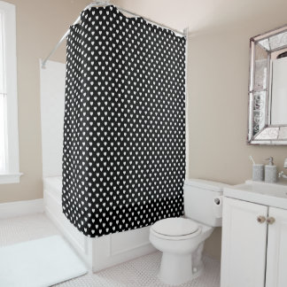 Black And White Polka Dot Hearts Pattern Shower Curtain