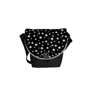 Black and White Polka Dot Mini-Messenger Bag Courier Bag