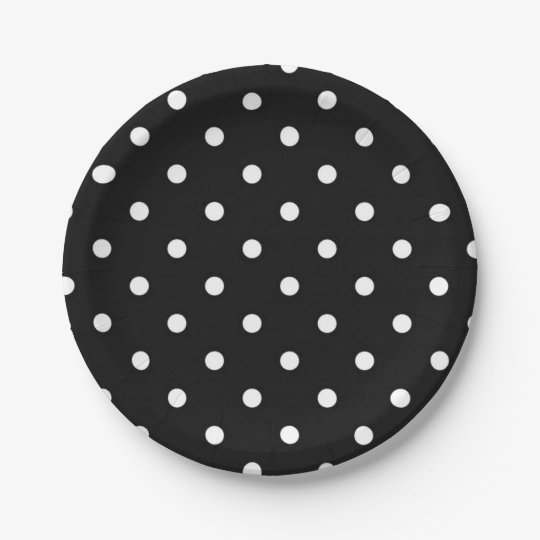 Black and white polka dot modern glamour paper plate
