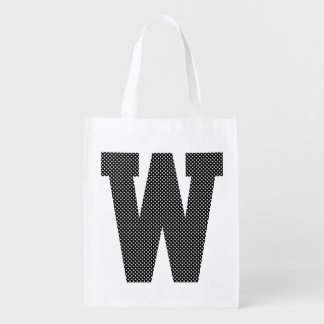 Black and White Polka Dot Monogram Reusable Grocery Bag