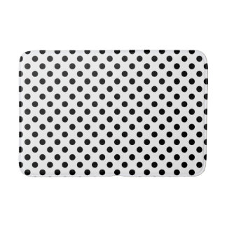 Black and White Polka Dot Pattern Bath Mat