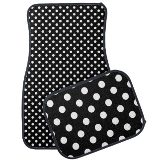 Black  and White Polka Dot Pattern Car Mat