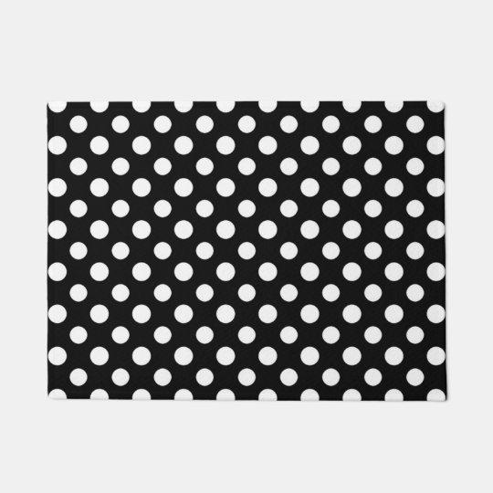 Black and White Polka Dot Pattern Doormat